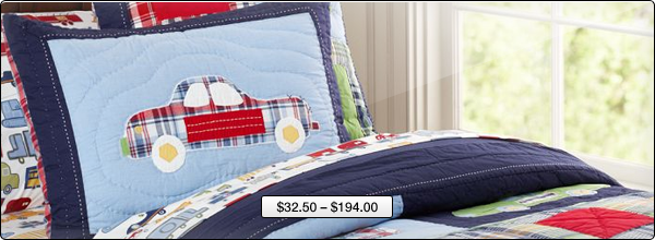 Boy's bedding with car application