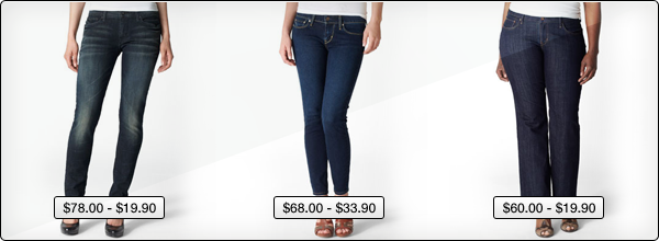 Different types of Levi's Jeans - Modern Demi Curve Skinny , Skinny and Curvy