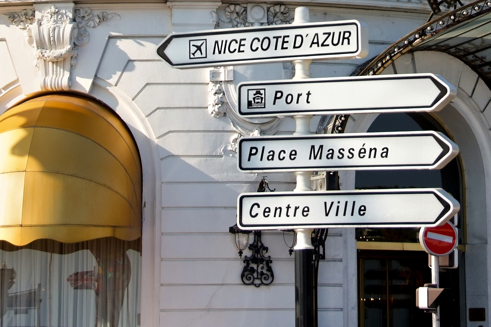 sign posts in Nice, France